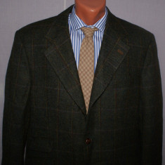 Sacou barbati tweed WELLINGTON OF BILMORE marimea 54 verde din lana si mohair, 3 nasturi, Marime sacou: 54, Normal