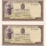 3) Lot 2 bucati bancnote 500 lei 1940, SERII CONSECUTIVE, UNC. NECIRCULATE