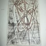 "Tablou, Abstract, Cerneala, Abstract - MARCEL CHIRNOAGA, gravura ""SINGULARITATI"""