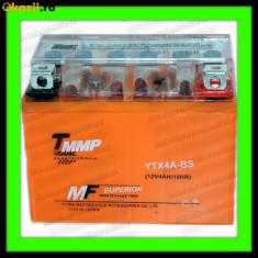 Acumulatori Moto - BATERIE MOTO Scuter Atv 4Ah 12V 4 Amperi BATERIE 4 Ah cu GEL fara intretinere