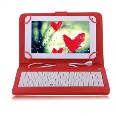 Husa Tableta 7 Inch Cu Tastatura Micro Usb Model X, Rosu, Tip Mapa C3 - Husa tableta cu tastatura, 7 inch, Universal