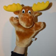 Animal de plus - Marioneta teatru de papusi papusa manuala (pe mana), cerb cu coarne galbene, ren