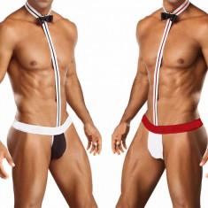 Mankini Chiloti tip Tanga barbati/ Underwear Male Lenjerie papion ata - Chiloti barbati, Marime: Masura unica, Culoare: Negru, Rosu