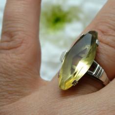 Inel argint - INEL VECHI ARGINT DECORAT CU PIATRA NATURALA CITRIN