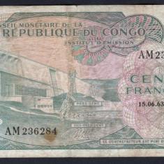 Congo 100 Francs 1963 P#1a - bancnota africa