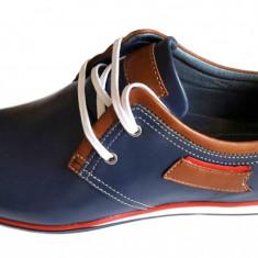Pantofi barbati bleumarin casual din piele naturala cu siret - Model Ric