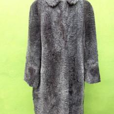 Haina din blana naturala astrahan gri - Palton dama, Piele