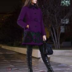 Palton dama - Haina stofa Ramona, dama, aplicatii piele eco, cordon, culoare mov