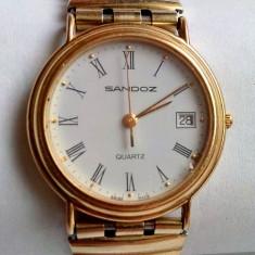 Ceas unisex de firma, Sandoz Swiss Made, placat cu aur inclusiv bratara