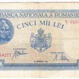 1)Bancnota 5000 lei 28 septembrie 1943 VF portret Traian+Decebal, An: 1943