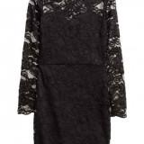 Rochie din dantela H&M, neagra, marimea 32 - Rochie de seara, Culoare: Negru