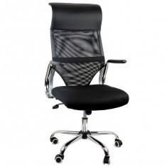 Scaun birou, Mesh+piele ecologica, Negru - Scaune de birou ergonomice OFF 908