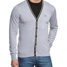 Lacoste Men's Plain Button Front Long Sleeve Cardigan, Grey - Pulover barbati, Marime: M, XL, Culoare: Din imagine