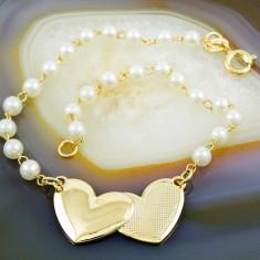 Bratara placate cu aur - Bratara Placata Cu Aur 18k model Perla si Inimi, cod 739