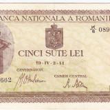 Bancnota 500 lei 2 IV 1941 filigran vertical XF (1), An: 1941