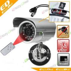 Camera supraveghere inregistrare card Senzor miscare exterior Tv OUT Telecomanda - Camera CCTV, Cu fir, Color