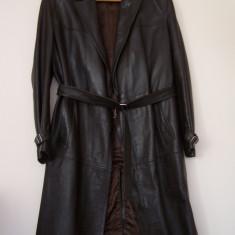 Pardesiu / haina de piele, barbatesc, lung, maron inchis, romanesc - Palton barbati, 50