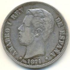 Spania 5 pesetas 1871, Europa, An: 1996
