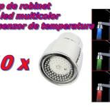Set 10 bucati Cap de Robinet cu LED in 3 culori + Senzori de temperatura
