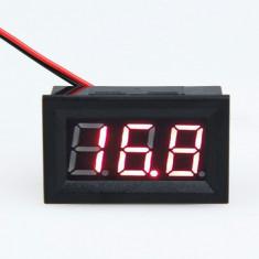 Voltmetru digital 4.5V-30V curent continuu, voltmetru auto 2 fire, afisaj rosu