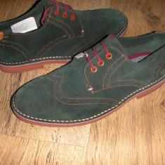 OFERTA! Pantofi oxford LUX TED BAKER ORIGINALI piele intoarsa verde inchis 41! - Pantofi barbati