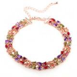 Bratara Arina cu cristale multicolore violet-champagne-green-red placata cu aur alb si garantie 6 luni