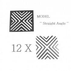 Unghii modele - Set 12 sabloane vinyl ''Straight Angle''