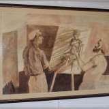 Maestrul si elevul - acuarela de dimensiuni mari, semnata - Pictor roman, Scene gen, Altul