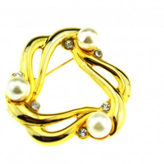 Brosa placata aur, gold plated 18 k, duble, decorata cristale perle, semnata - Brosa placate cu aur