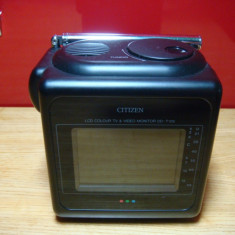 Televizor LCD, Sub 19 inchi - Vintage - Mini Tv Lcd Color Citizen DD-T126 Made in Japan