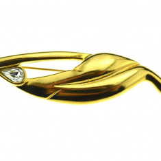Brosa placata aur, gold plated 18 k, duble, anturaj cristal, design modernist - Brosa placate cu aur