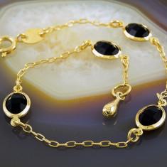 Bratara placate cu aur - Bratara Placata Cu Aur 18k, cu Zirconiu Negru, cod 725