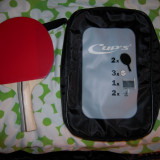 Paleta ping pong - 2 Palete CUP'S, + 3 mingii, fileu cu suporti prindere masa si husa transport