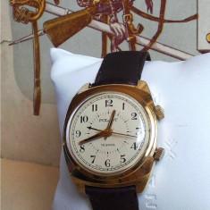 Ceas rusesc de colectie Poljot alarma sonerie, cal 2612.1, 18J, placat cu aur - Ceas barbatesc Poljot, Mecanic-Manual