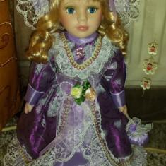 Jucarie de colectie - Papusa portelan-Lady Lily-superba in mov!