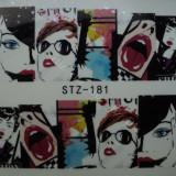 Tatuaj transfer pe baza de apa sticker pentru decorare unghii Full Tip STZ 181 - Unghii modele