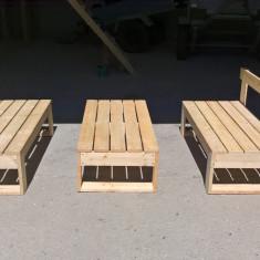 Set bancute si masa din lemn pentru exterior - Masa gradina
