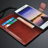 Husa protectie piele fina HUAWEI ASCEND P7, tip flip cover portofel, MARO CONIAC - Husa Telefon