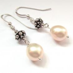 Cercei argint lungi cu perle naturale oranj