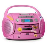 Auna Boomgirl, radio recorder portabil, CD, USB, MP3, baterii, set de autocolante - CD player