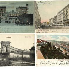 4 VEDERI VECHI, INCEPUT DE 1900 DIN VIENA SI BUDAPESTA, FOARTE FRUMOASE., Circulata, Printata, Europa