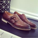 Pantofi din piele double strap monk. Cod MONK 2. Disponibili pe maro si visiniu