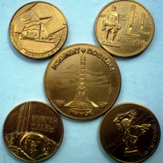 5.005 RUSIA URSS SET 5 MEDALII COMEMORARE WWII 44, 5-34, 5mm, Europa