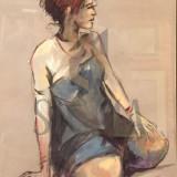 TABLOU, RADU DARANGA, FEMEIE SEZAND, TEHNICA MIXTA - Pictor roman