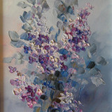 Tablou ulei( 20/25 cm)-LILIAC - Pictor roman, Flori, Impresionism