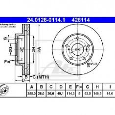 Disc frana TOYOTA CAMRY CV1 XV1 V1 PRODUCATOR ATE 24.0128-0114.1 - Discuri frana