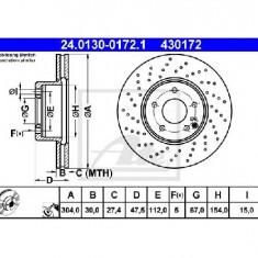 Disc frana MERCEDES-BENZ S CLASS W220 PRODUCATOR ATE 24.0130-0172.1 - Discuri frana