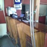 Bar interior din stejar masiv si masa inox cu schelet metalic, 230 cm