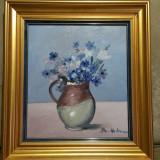 Dan Hatmanu - Flori albastre - ulei / carton - Pictor roman, Realism