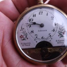 Ceas mecanic de buzunar, Elvetian, de 8 zile.Functioneaza.Reducere! - Ceas de buzunar vechi